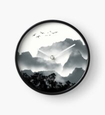 Abstract Watercolor Landscape Clock