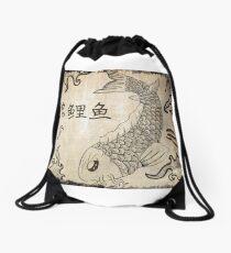 Koi Fish on Parchment Paper Drawstring Bag