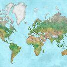 Aquarell physische Weltkarte von blursbyai