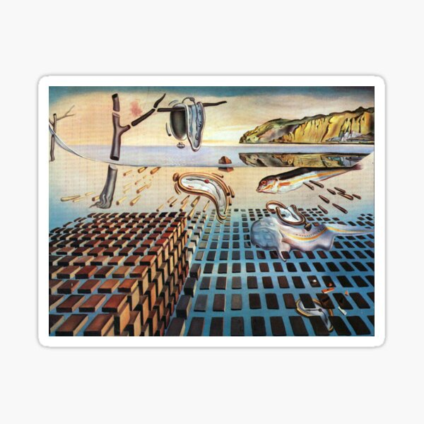 Salvador, Dali, surrealist. The Disintegration of the Persistence of Memory (1952-1954). Sticker
