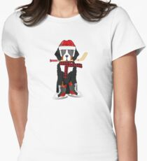 Bernese Mt Dog Ice Hockey Player Women's Fitted T-Shirt