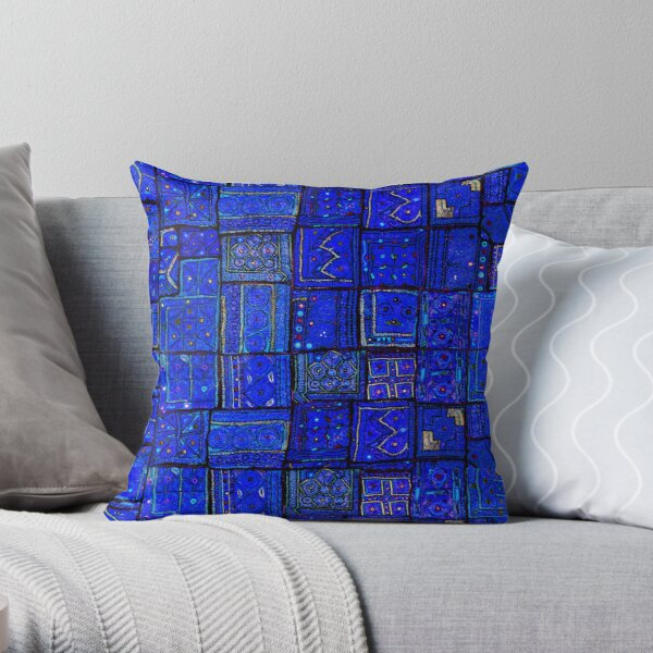 Lovely Calm Blue Traditional Moroccan Pattern Artwork. Throw Pillow