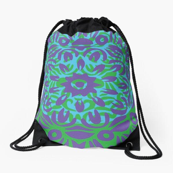 Floral Burst, Light Purple, Turquoise & Green Mandala 12 Drawstring Bag