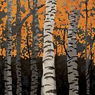 Birch Trees Autumn by Carl Huber