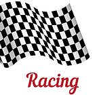 Wavy racing checkered flag, black and white by Slanapotam