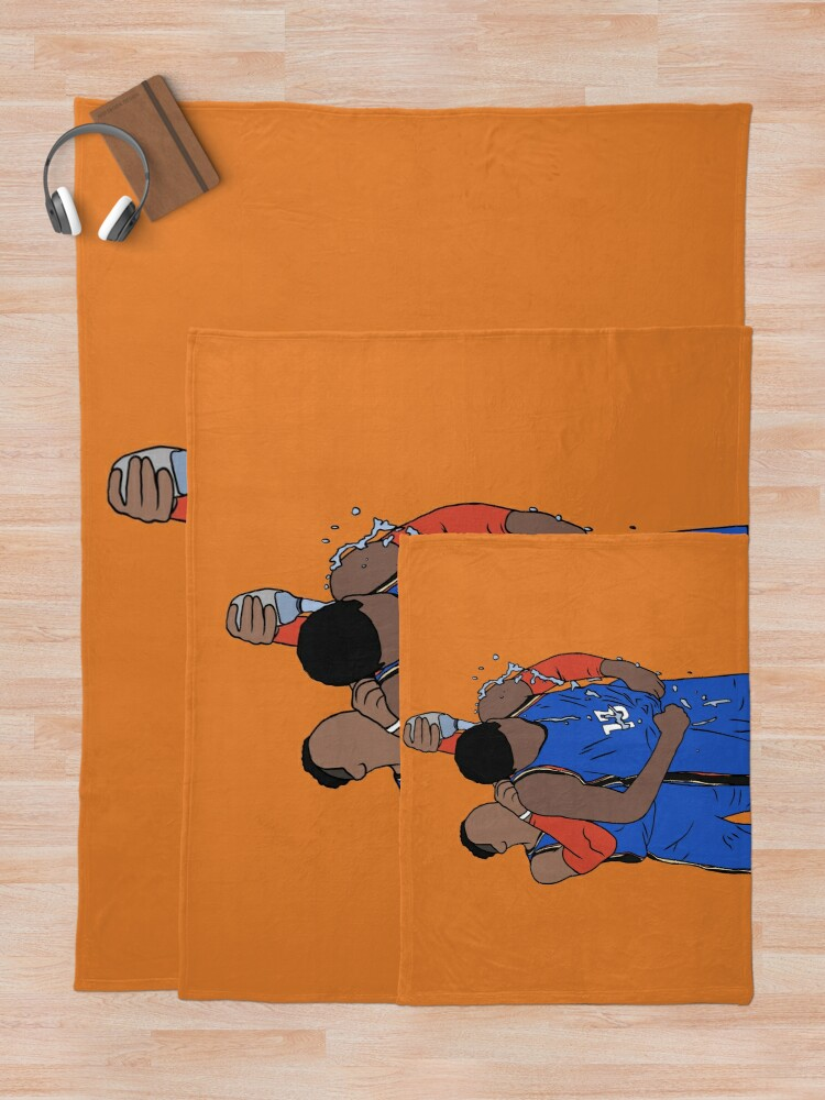 Alternate view of Russell Westbrook And Paul George Celebration Throw Blanket