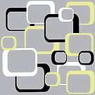 Retro Squares Pattern Yellow Black White Gray by ValeriesGallery