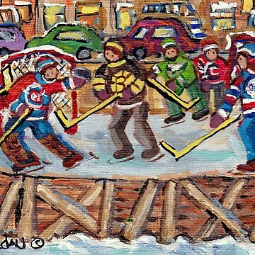 KIDS JERSEY DAY HOCKEY RINK PAINTINGS MONTREAL NEIGHBORHOODS C SPANDAU WINTER ROWHOUSES CITY SCENES by CaroleSpandau