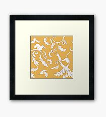 Squirrels and Acorns Ochre Pattern Framed Print