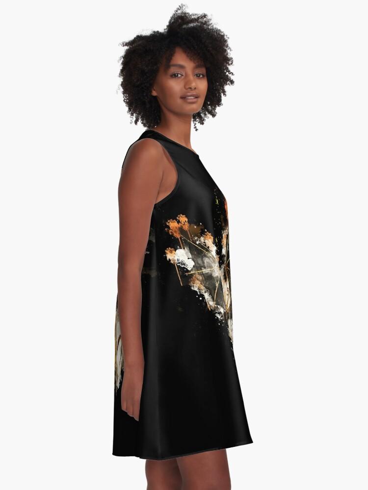 Alternative Ansicht von Dragon wyrm wyvern watercolor painted A-Linien Kleid