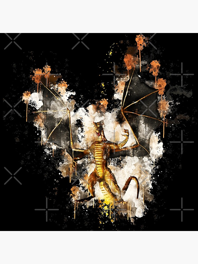 Dragon wyrm wyvern watercolor painted von VincentW91