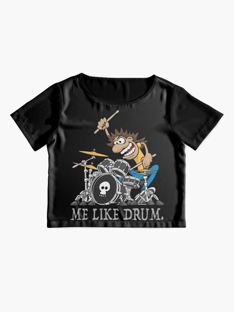 Alternate view of Me Like Drum. Wild Drummer Cartoon Illustration Chiffon Top