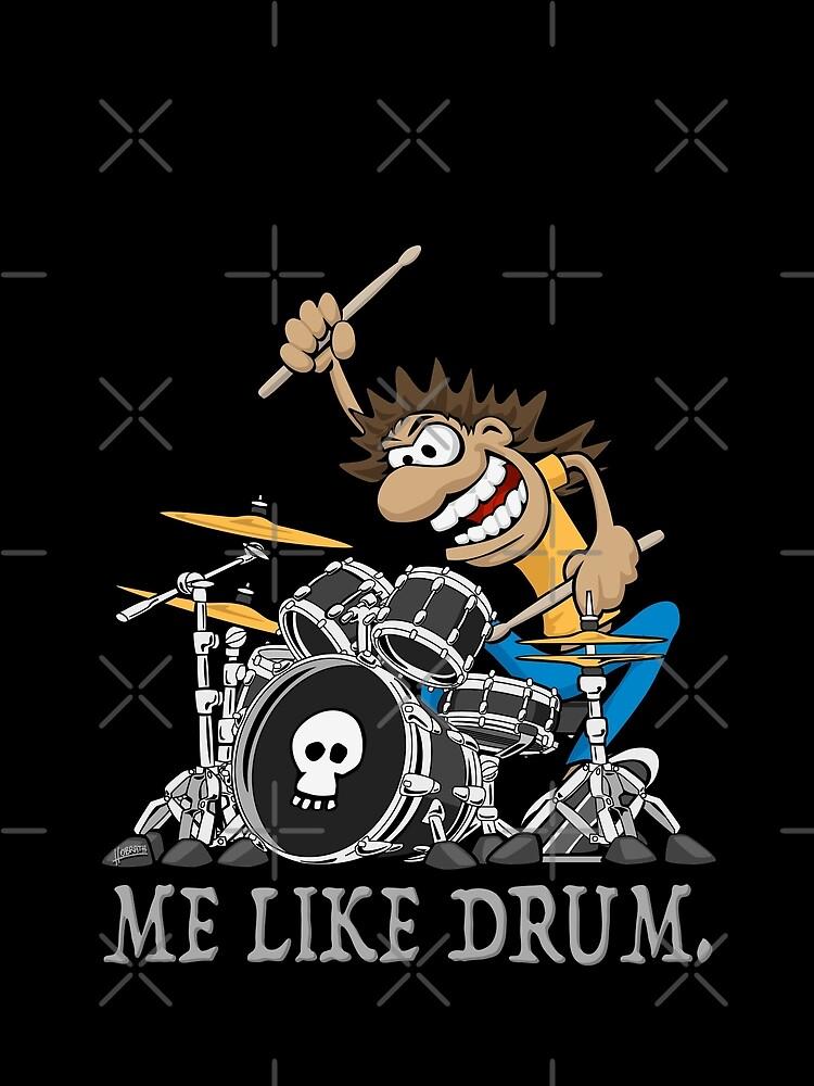 Me Like Drum. Wild Drummer Cartoon Illustration by hobrath