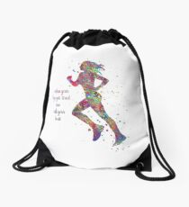 Running woman, running, when your legs get tired run with your heart Drawstring Bag