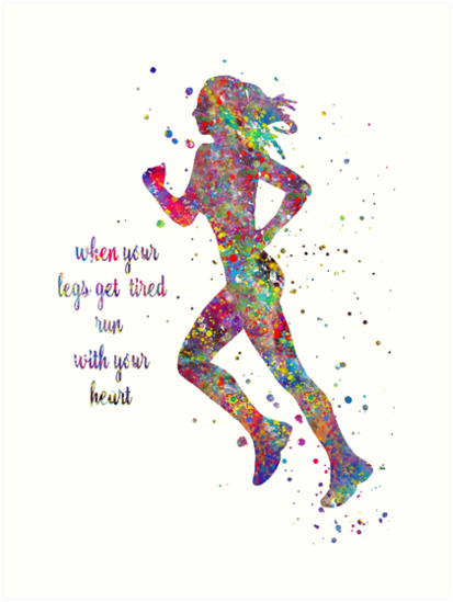 Soccer Player Man Quote Watercolor Print Running Soccer Boy Run With Your Heart