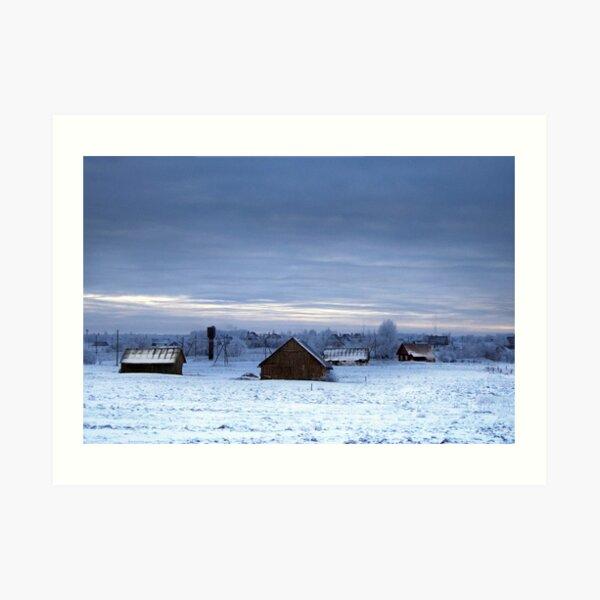 Village in winter Art Print