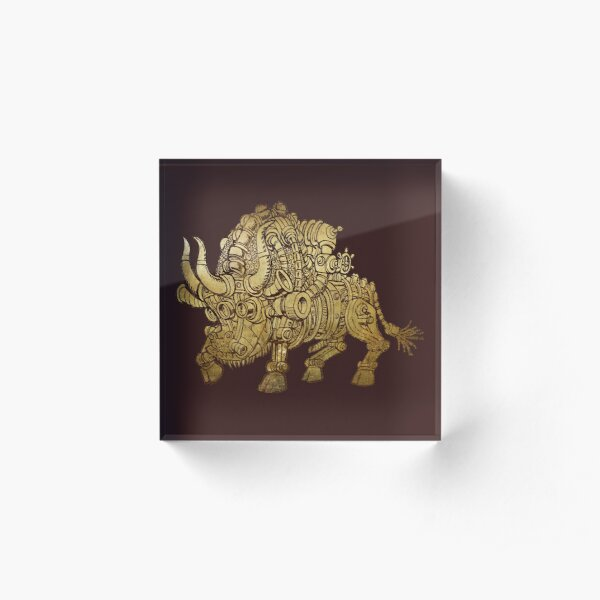 golden mechanical bull Acrylic Block