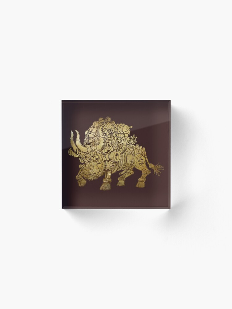 Alternate view of golden mechanical bull Acrylic Block