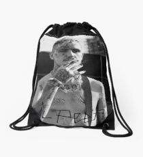 Lil Peep Portrait Black Text Drawstring Bag