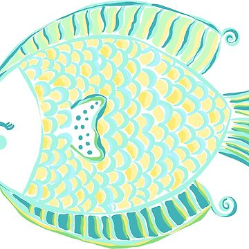 Cute Preppy Colorful Tropical Fish Illustration by JillLouise