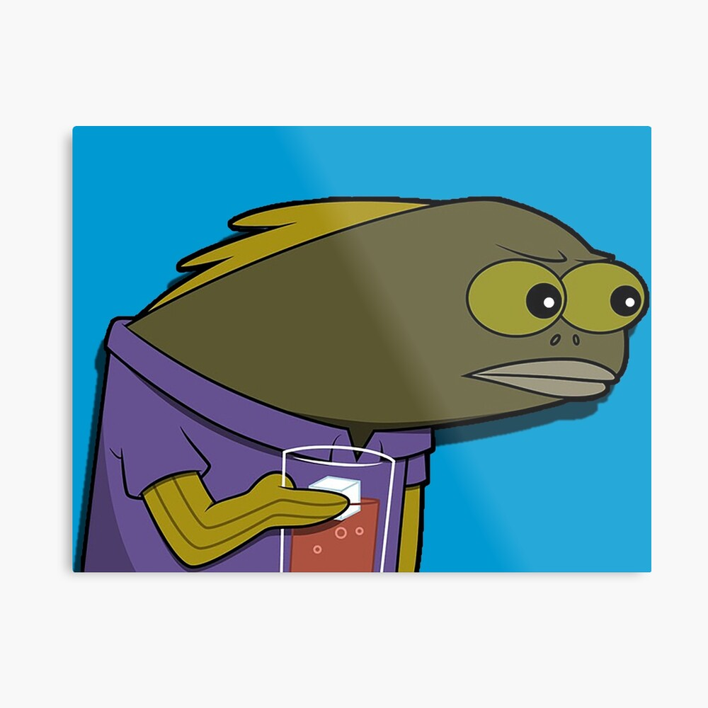 What did you do to my drink spongebob fish metal print
