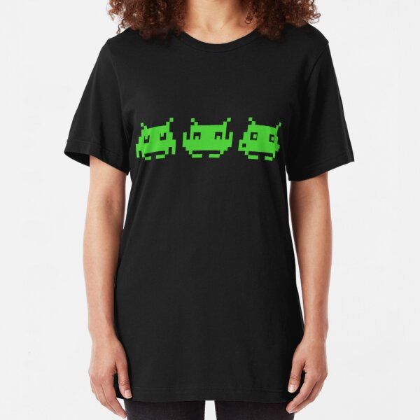 Space Invaders Green Triplets Slim Fit T-Shirt