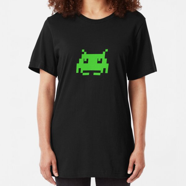 Space Invaders Green Alien T-Shirt Slim Fit T-Shirt