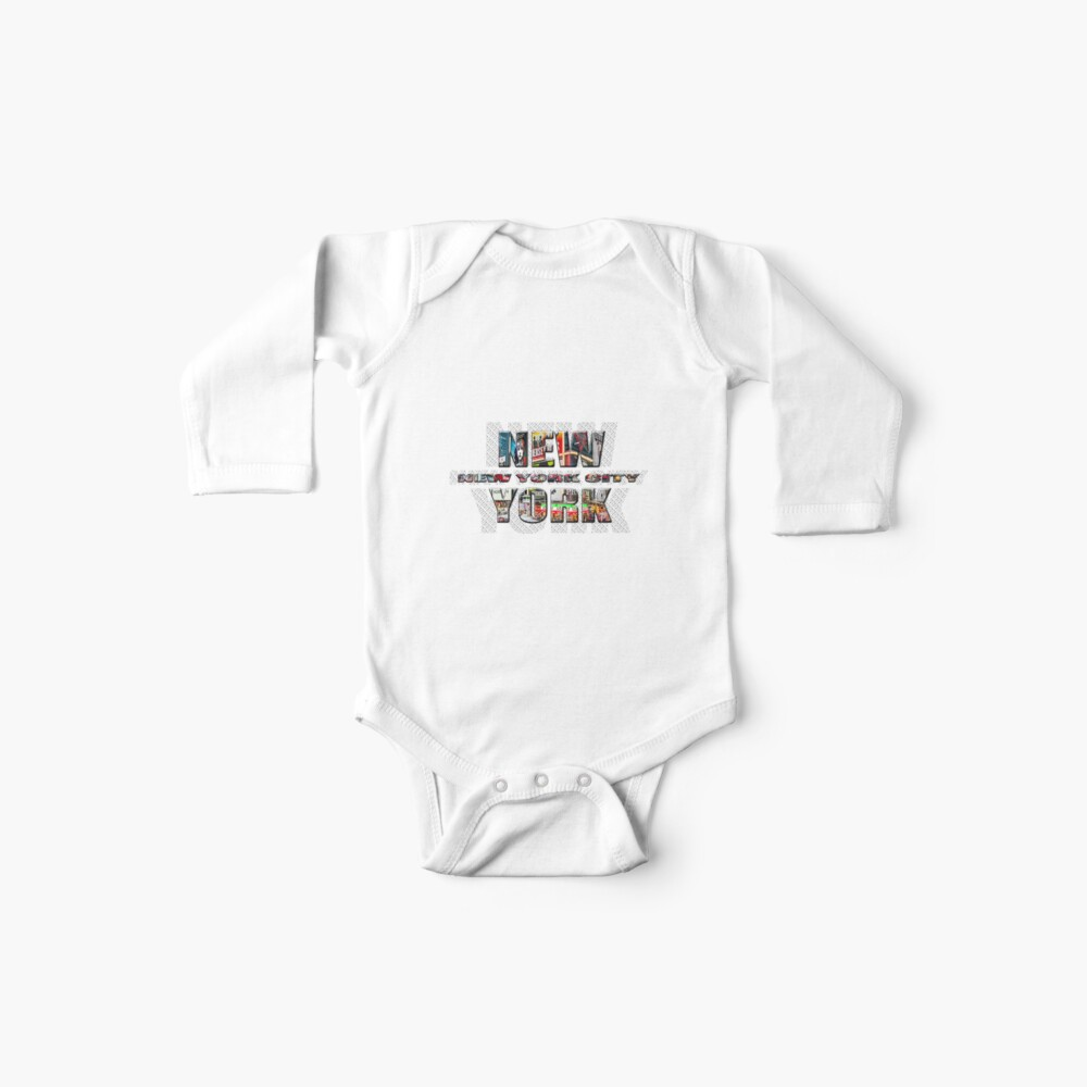 NEW YORK CITY (colour photo-filled type on B&W type background) Baby One-Piece