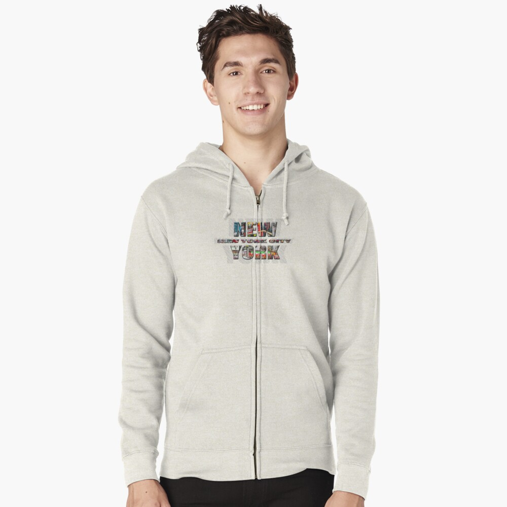 NEW YORK CITY (colour photo-filled type on B&W type background) Zipped Hoodie