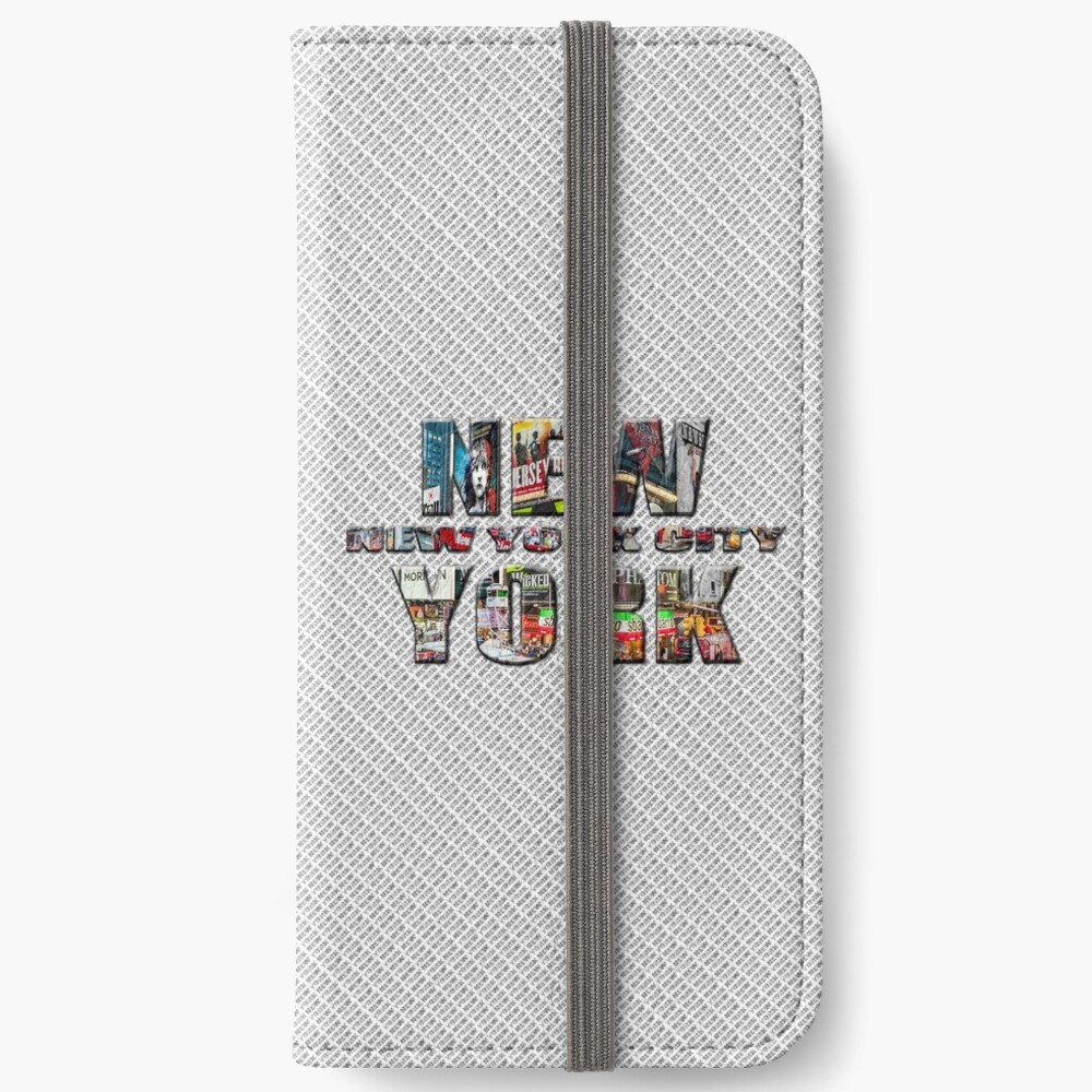NEW YORK CITY (colour photo-filled type on B&W type background) iPhone Wallet