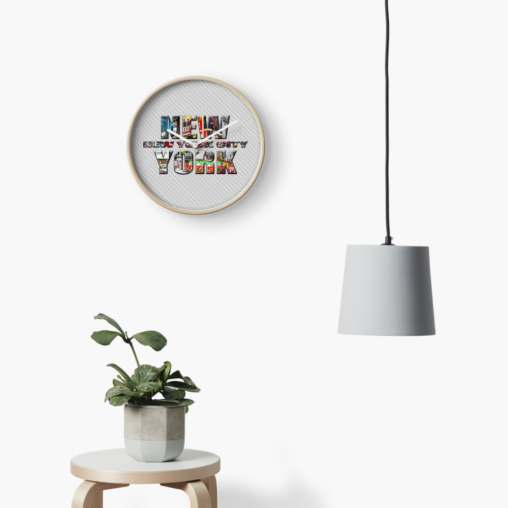 NEW YORK CITY (colour photo-filled type on B&W type background) Clock