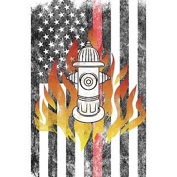 Fire Hydrant  Flames American Flag Thin Red Line Firefighter Shirt by we1000