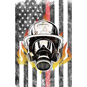 Firefighter helmet Flames American Flag Thin Red Line Firefighter Shirt by we1000