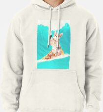 Kitty Cat Surfing Pizza Pullover Hoodie