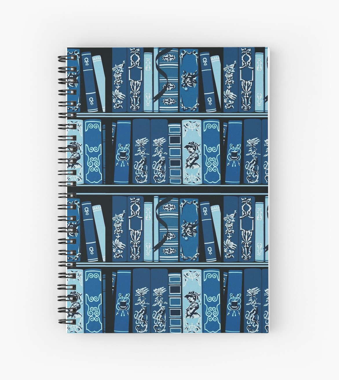 Blue Book Shelves Vintage Books Pattern\
