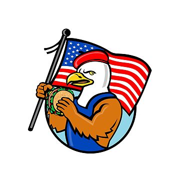 American Eagle Holding Burger and USA Flag Mascot by patrimonio