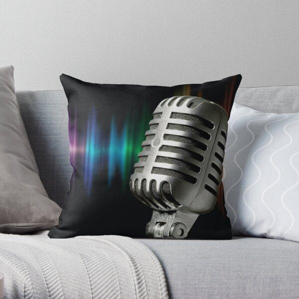 Retro Microphone Throw Pillow
