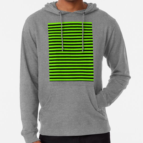 Chartreuse Vert et Noir Rayures Horizontales Sweat à capuche léger