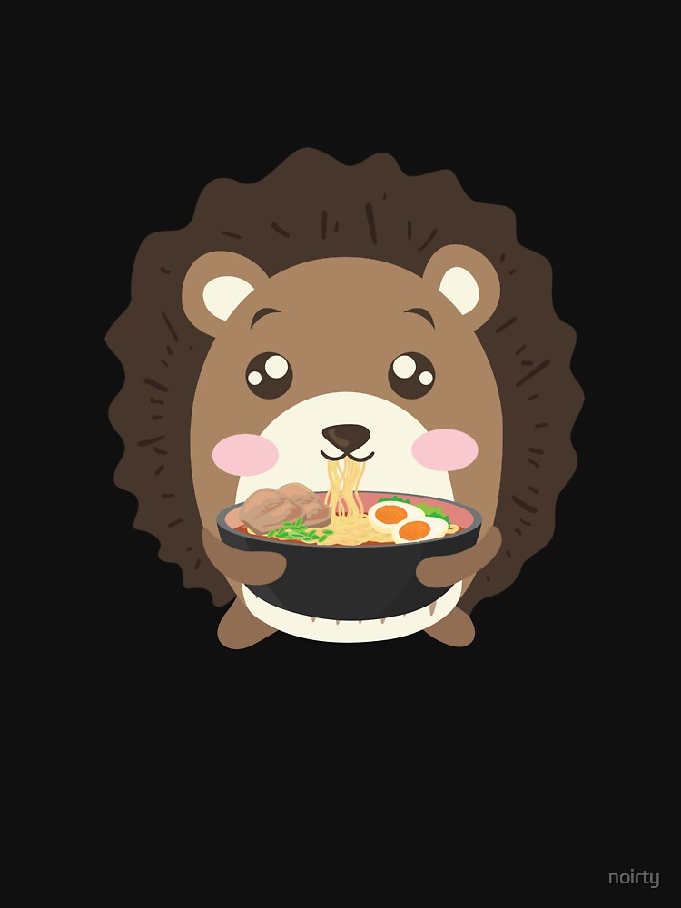 Hedgehog Eating Ramen Noodle Soup Cute Tee Shirt by noirty