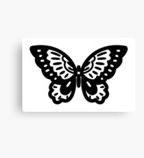 Pretty Butterfly Silhouette Icon Canvas Print