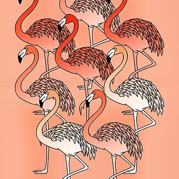 Living Coral Color Flamingos  by Gravityx9