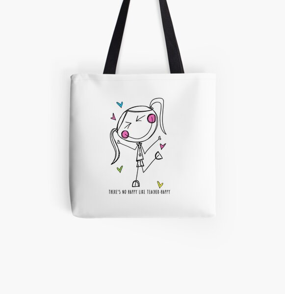 Teacher Happy All Over Print Tote Bag