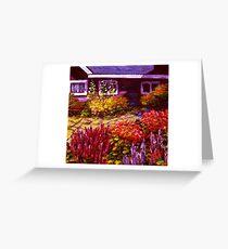 Purple House & Garden Greeting Card