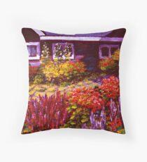 Purple House & Garden Throw Pillow