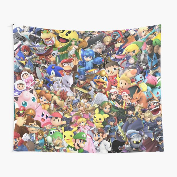 Super Smash Bros Ultimate - Character Collage Tapestry