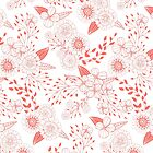 Doodle flowers in living coral by Katerina Kirilova