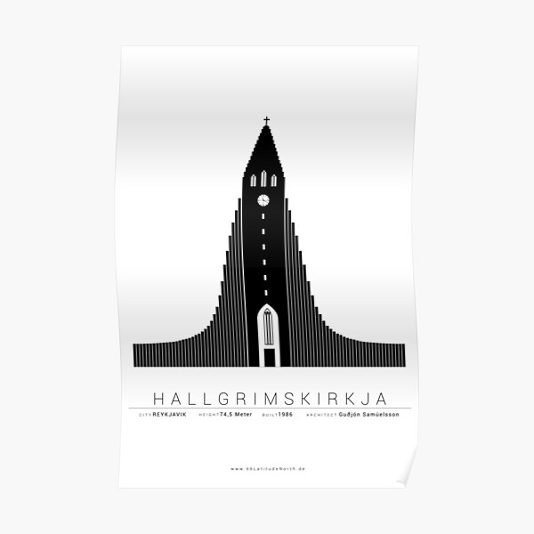 Reykjavik Island Hallgrímskirkja  Poster