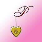 P Golden Heart Locket by Chere Lei