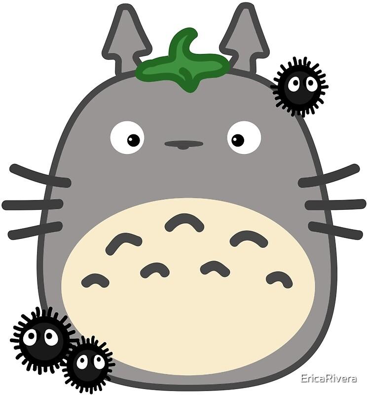15210093 Kawaii Totoro And Susuwatari on Spiral Border Design
