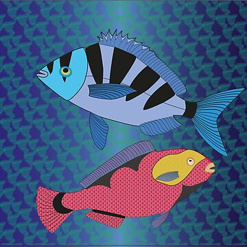 Sargo + Vieja Canary fish by shimaart